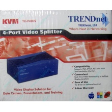 Видеосплиттер TRENDnet KVM TK-V400S (4-Port), разветвитель видеосигнала TRENDnet KVM TK-V400S